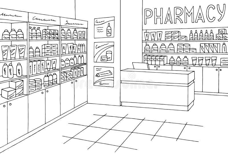 Vettore bianco dell'illustrazione di schizzo del deposito della farmacia del nero grafico interno del negozio illustrazione di stock