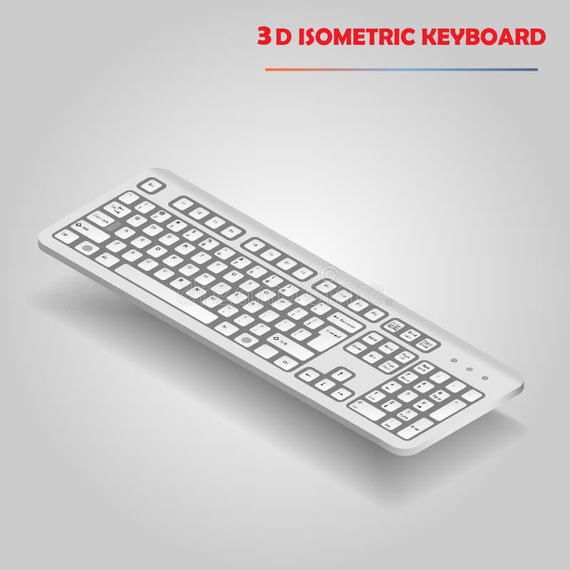 Vettore bianco della tastiera di computer 3d illustrazione vettoriale