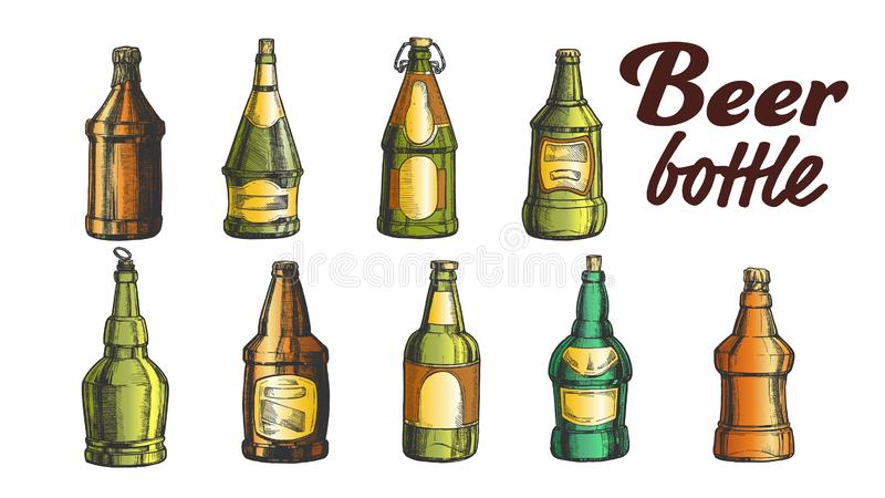 Vettore in bianco disegnato a mano dell'insieme della bottiglia di birra di colore illustrazione vettoriale