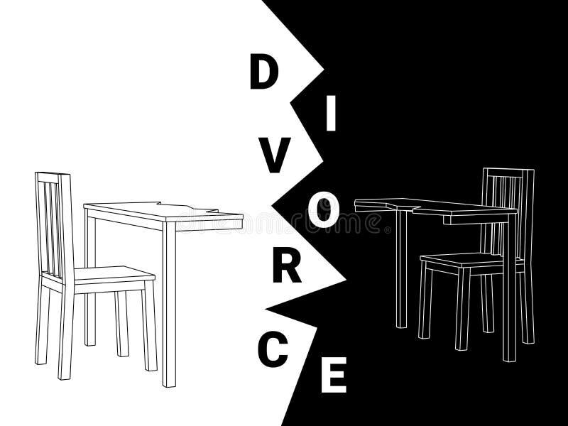 Vettore in bianco e nero astratto di un tavolo da pranzo di legno diviso e di due sedie che descrivono un divorzio illustrazione di stock