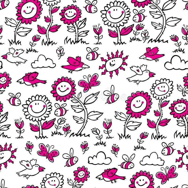 Vettore in bianco e nero con il modello magenta di ripetizione dei girasoli, degli uccelli e delle api del fumetto Adatto ad invo royalty illustrazione gratis