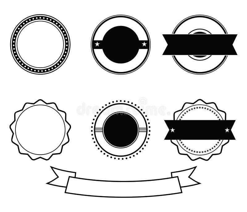 Vettore in bianco nero del bollo dell'emblema del distintivo di anniversario illustrazione di stock