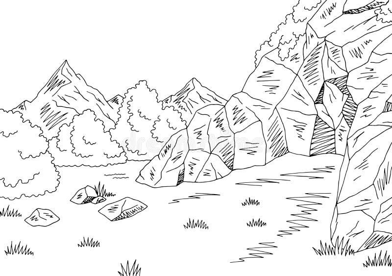 Vettore bianco nero grafico dell'illustrazione di schizzo del paesaggio della montagna della caverna illustrazione vettoriale