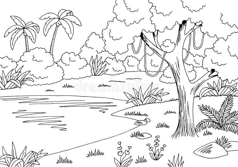 Vettore bianco nero grafico dell'illustrazione di schizzo del paesaggio del lago jungle royalty illustrazione gratis