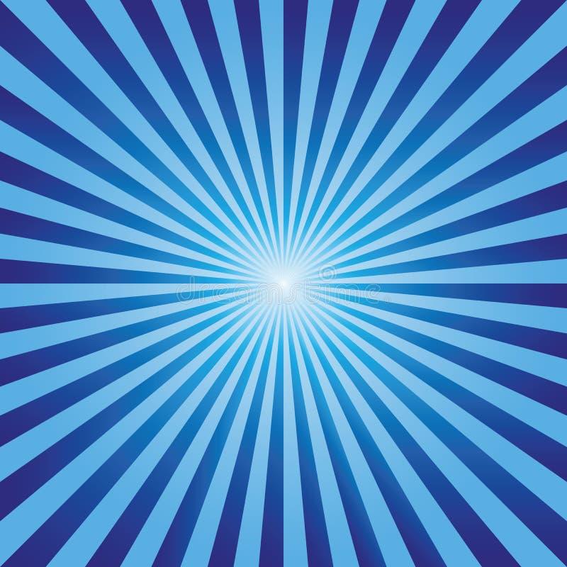 Vettore blu dei raggi di esplosione astratta d'annata del fondo illustrazione di stock
