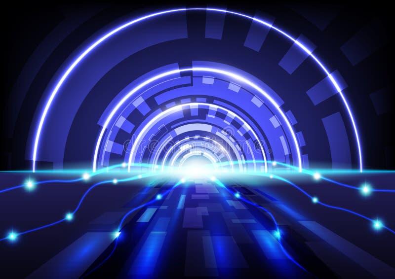 Vettore blu del fondo di tecnologia digitale astratta di alta tecnologia illustrazione di stock