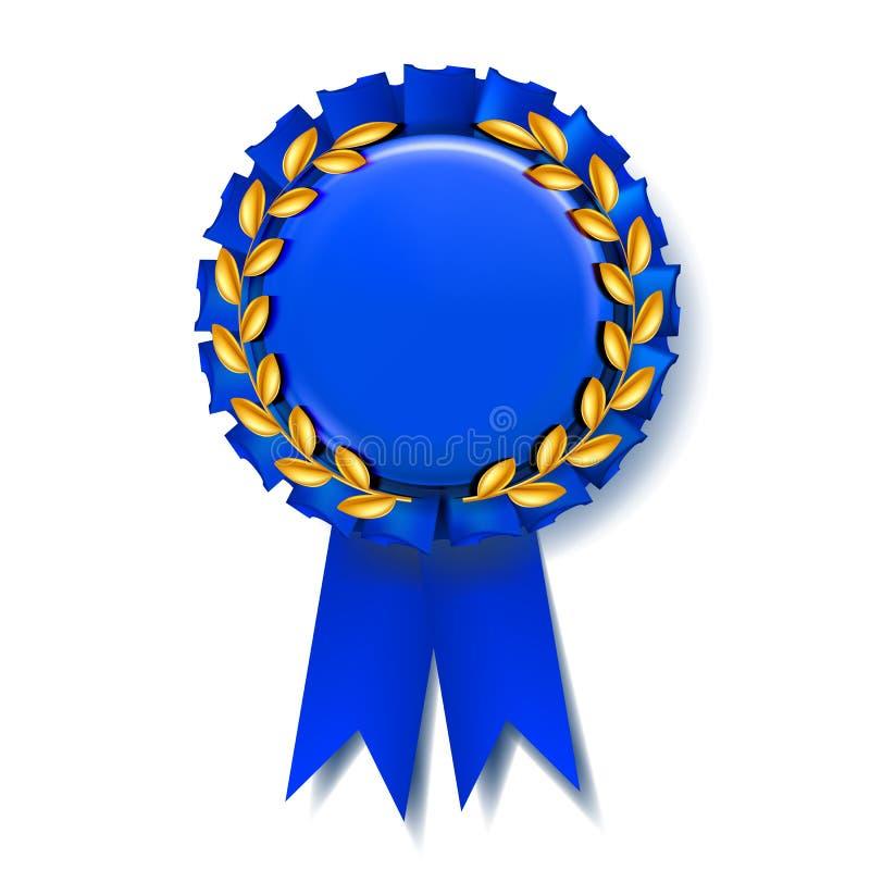 Vettore blu del nastro del premio Migliore trofeo Prodotto di lusso Modello dell'oggetto illustrazione realistica 3d illustrazione vettoriale