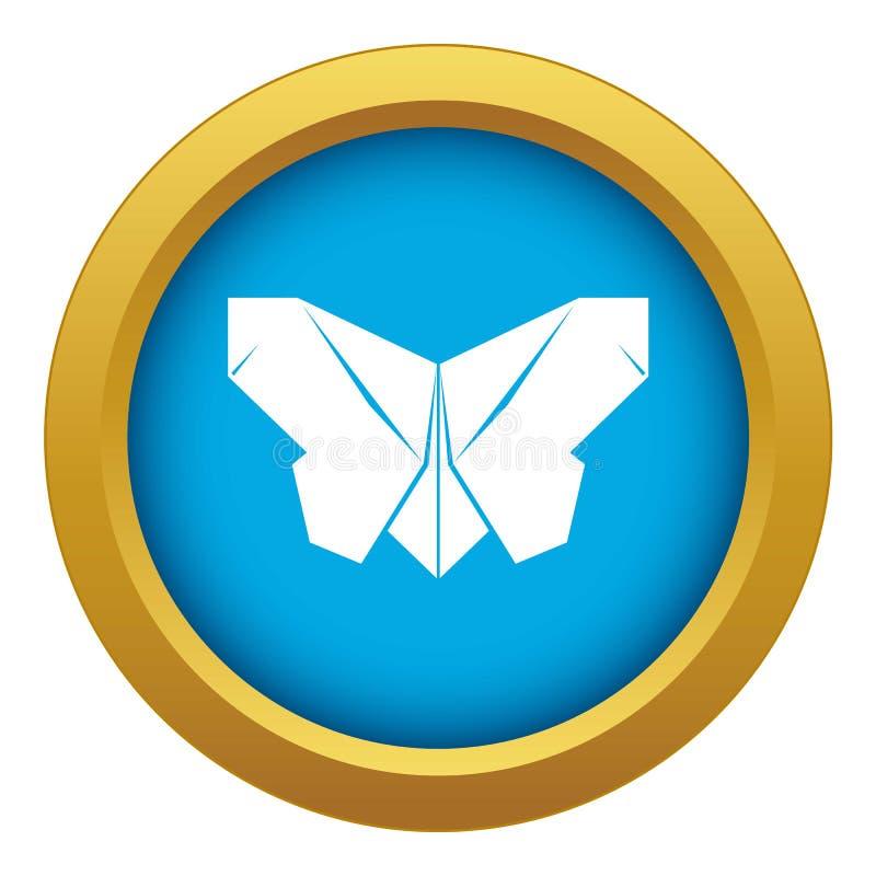 Vettore blu dell'icona della farfalla di origami isolato illustrazione vettoriale