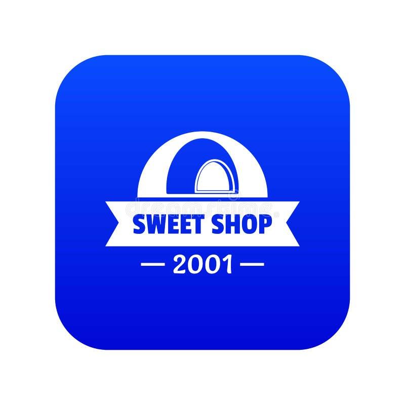 Vettore blu dell'icona dolce del negozio del caramello illustrazione di stock