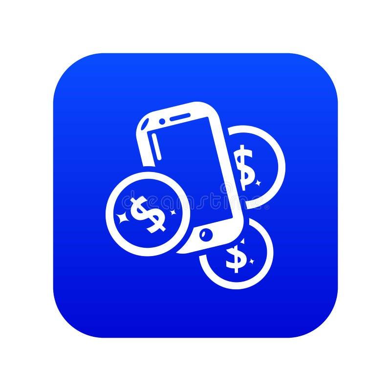 Vettore blu dell'icona mobile dei soldi illustrazione di stock