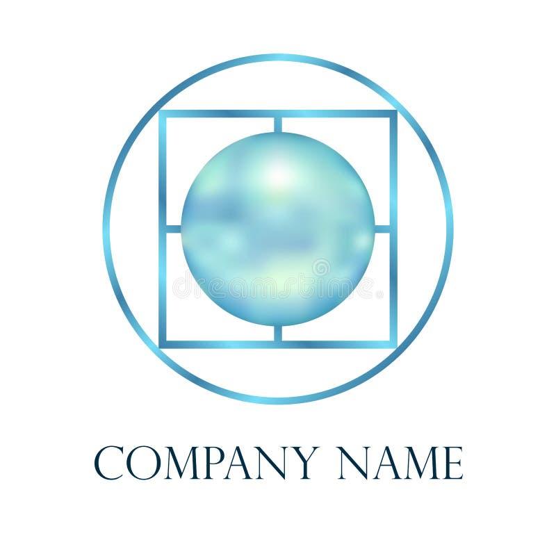 Vettore blu di logo della perla illustrazione vettoriale