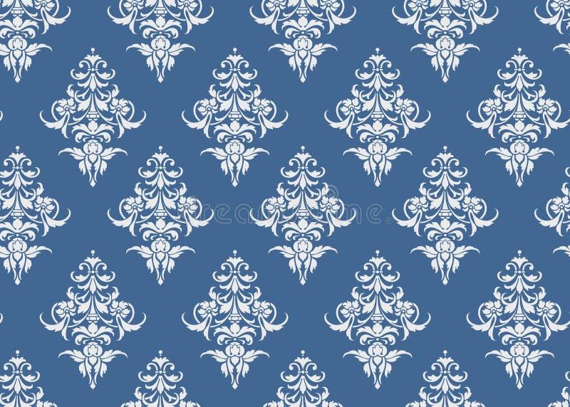 Vettore blu e bianco floreale della carta da parati del modello senza cuciture di lusso, royalty illustrazione gratis