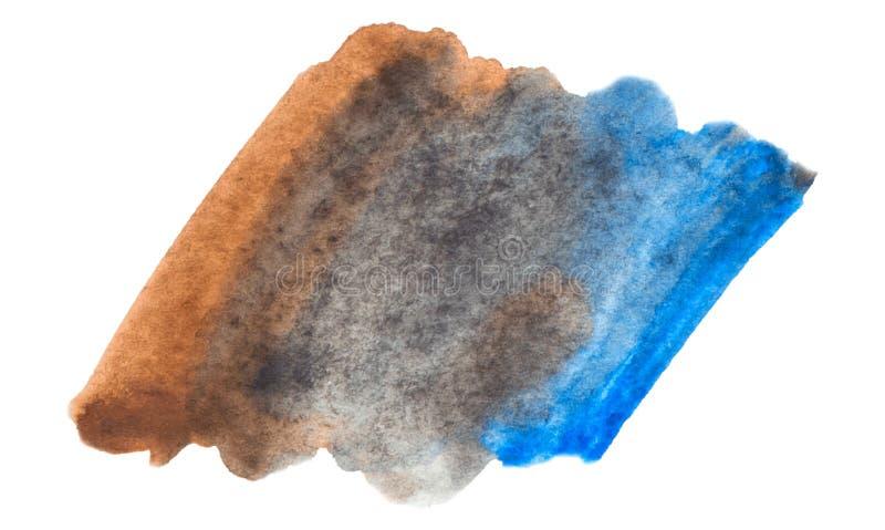 Vettore blu e struttura marrone della pittura isolata sull'insegna bianco- dell'acquerello per la vostra progettazione fotografie stock