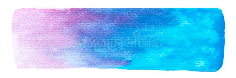 Vettore blu e struttura porpora della pittura isolata sull'insegna orizzontale dell'acquerello bianco- per la vostra progettazion illustrazione di stock