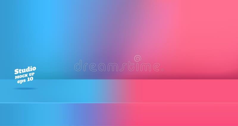 Vettore, blu vuoto gredient al fondo rosa vivo della stanza della tavola dello studio di colore 3d, esposizione del prodotto con  illustrazione di stock
