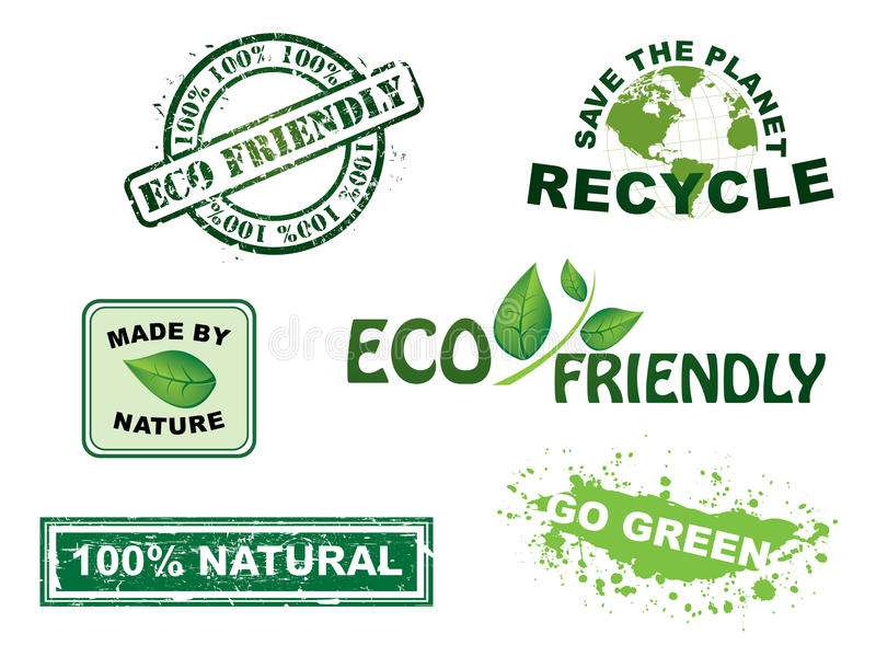 Vettore, bolli di ecologia e serie delle icone illustrazione di stock