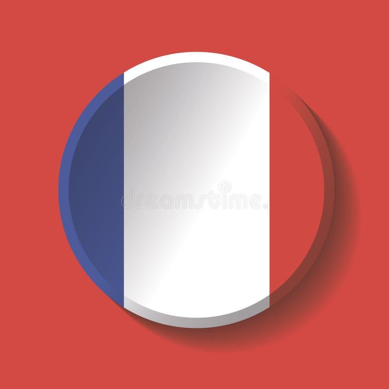 Vettore - bottone dell'ombra del cerchio della carta della bandiera della Francia illustrazione di stock
