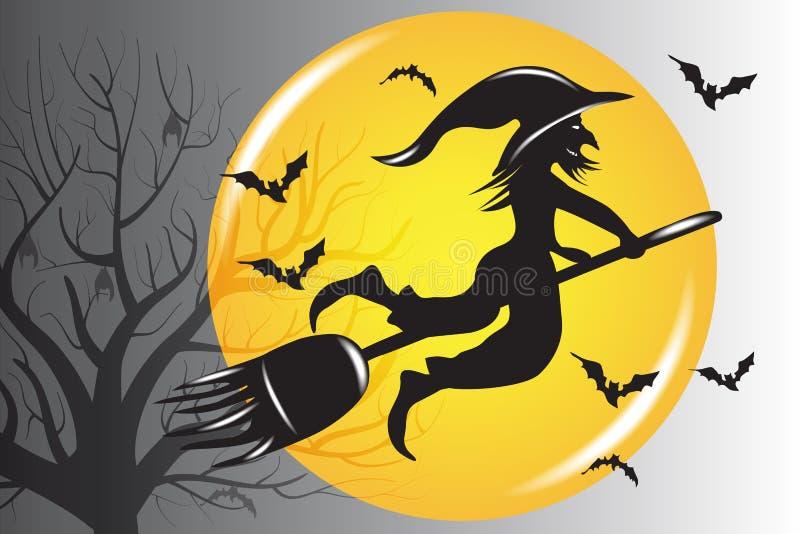 Vettore brutto della siluetta della strega di Halloween illustrazione vettoriale