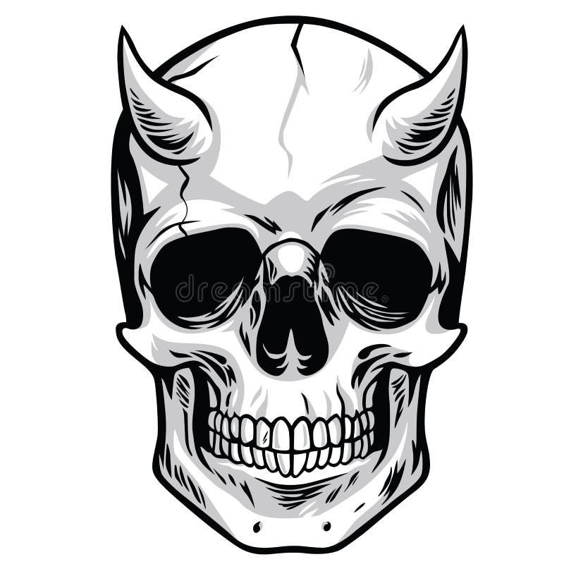Vettore capo del cranio del demone illustrazione vettoriale