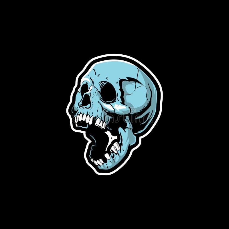Vettore capo del personaggio dei cartoni animati del cranio umano illustrazione vettoriale