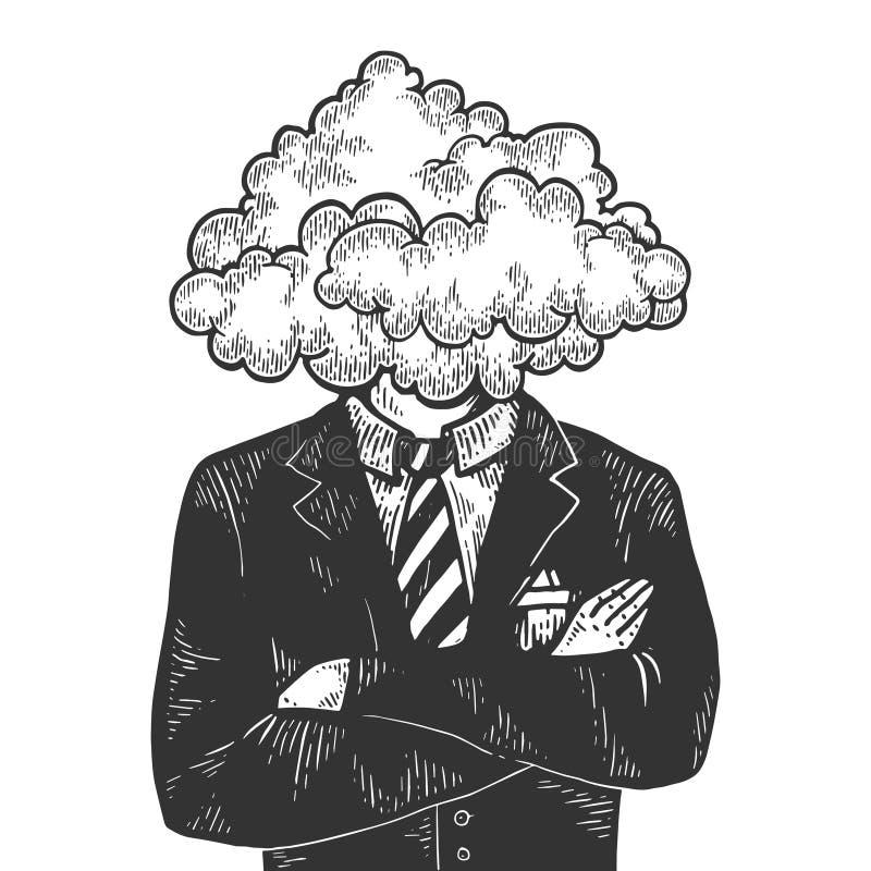 Vettore capo dell'incisione di schizzo dell'uomo d'affari della nuvola illustrazione vettoriale