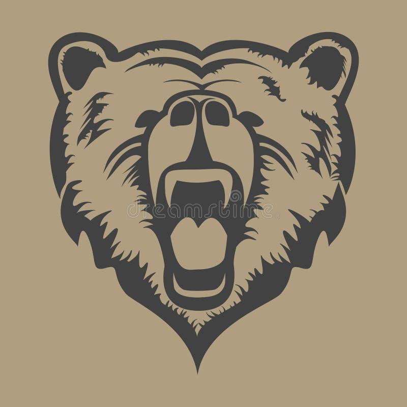 Vettore capo dell'orso grigio immagine stock