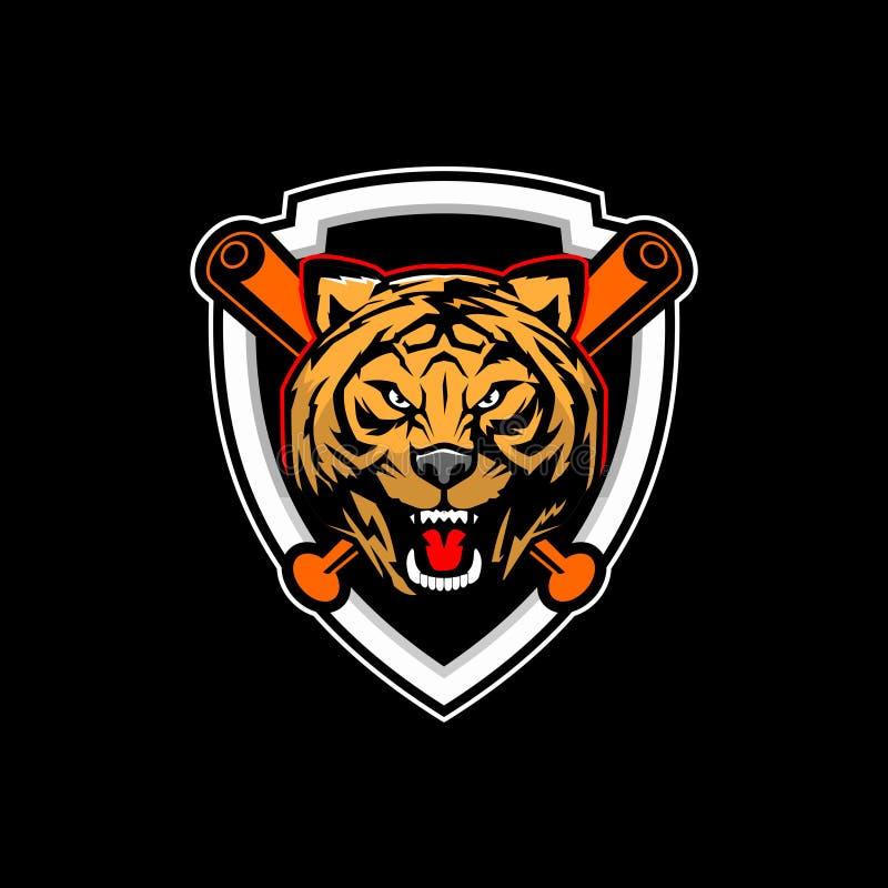 Vettore capo della tigre per il logo del club di baseball royalty illustrazione gratis