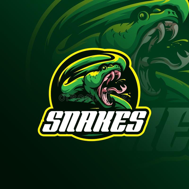 Vettore capo di progettazione di logo della mascotte del serpente con il concetto f dell'emblema del distintivo illustrazione di stock