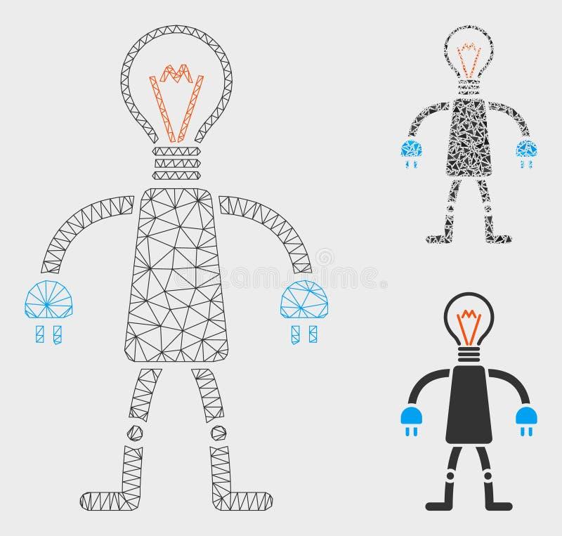 Vettore capo Mesh Carcass Model del robot della lampada ed icona del mosaico del triangolo royalty illustrazione gratis