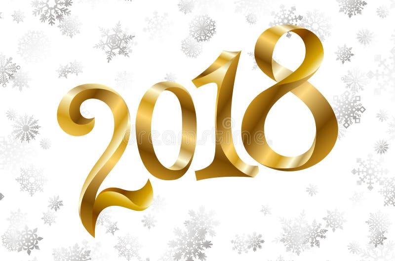 Vettore cartolina d'auguri di 2018 nuovi anni con il fiocco di neve strutturato dorato scintillante di scintillio Fondo stagional royalty illustrazione gratis