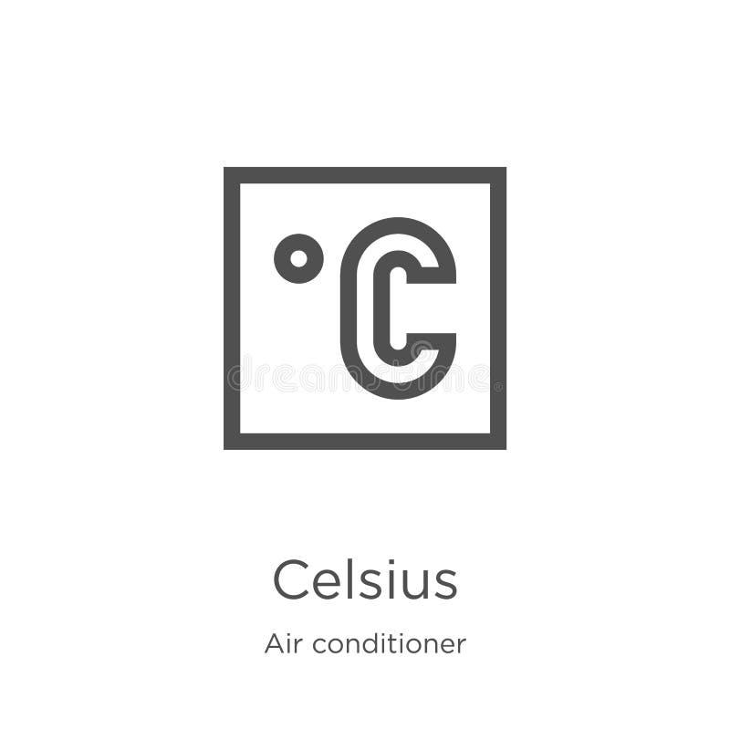 vettore centigrado dell'icona dalla raccolta del condizionatore d'aria Linea sottile illustrazione di vettore dell'icona del prof illustrazione vettoriale