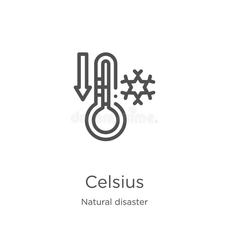 vettore centigrado dell'icona dalla raccolta di disastro naturale Linea sottile illustrazione di vettore dell'icona del profilo d royalty illustrazione gratis