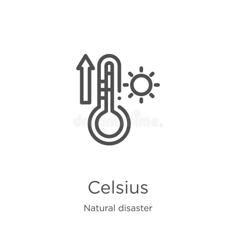 vettore centigrado dell'icona dalla raccolta di disastro naturale Linea sottile illustrazione di vettore dell'icona del profilo d illustrazione vettoriale