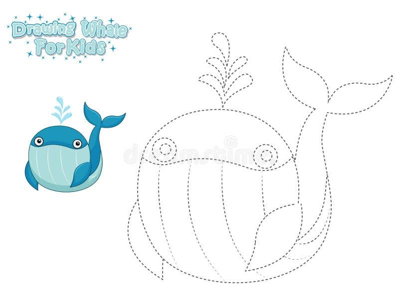 Vettore che disegna e dipingere la balena sveglia del fumetto Gioco educativo per i bambini Illustrazione di vettore con l'animal royalty illustrazione gratis