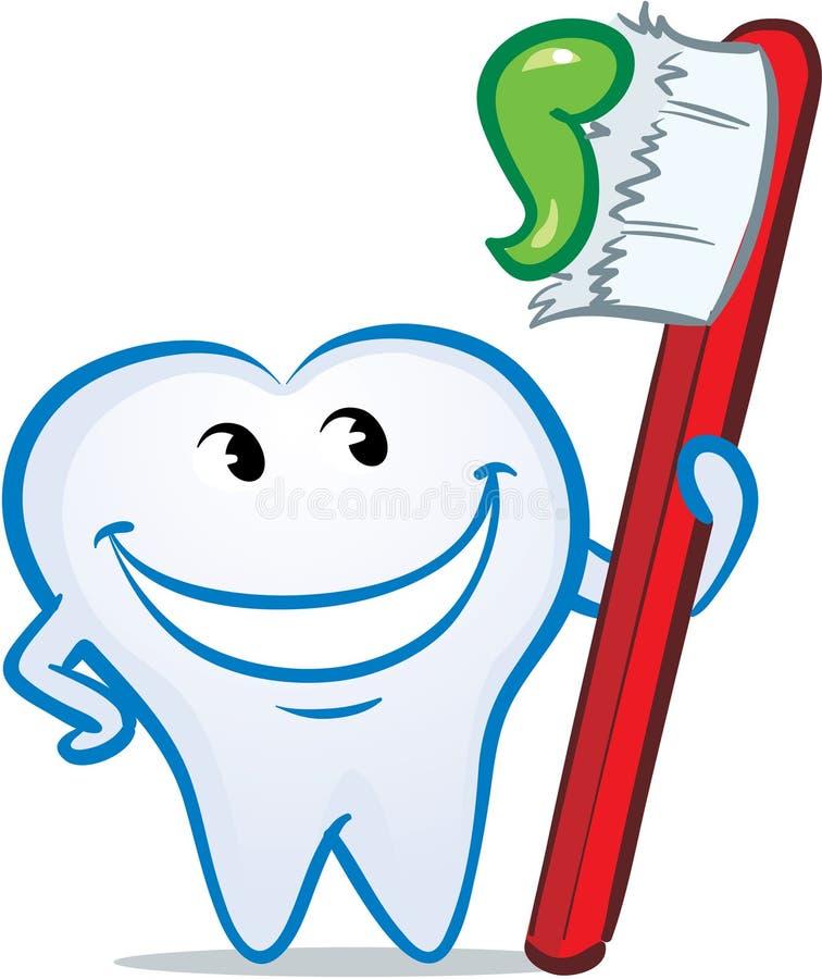 Vettore che sbatte le palpebre dente sorridente felice illustrazione vettoriale