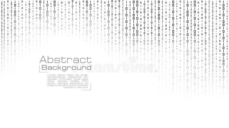 Vettore che scorre codice binario su fondo bianco illustrazione di stock