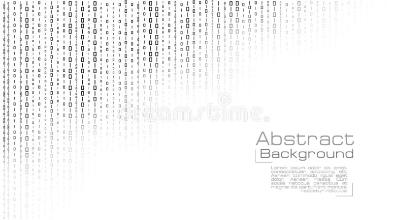 Vettore che scorre codice binario su fondo bianco illustrazione vettoriale