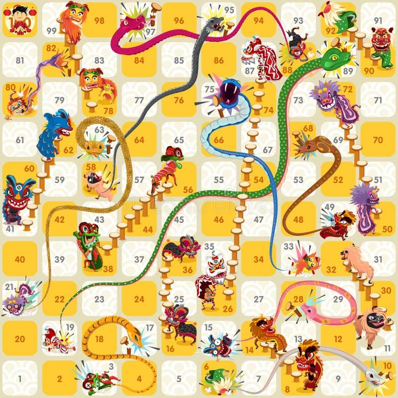 Vettore cinese del nuovo anno del gioco da tavolo della scala e del serpente royalty illustrazione gratis
