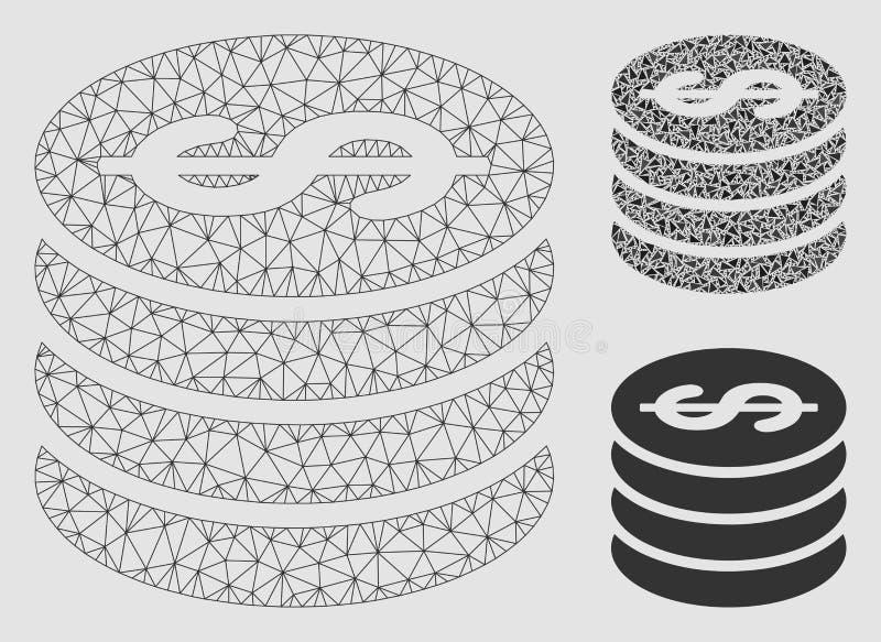 Vettore colonna Mesh Carcass Model della moneta del dollaro ed icona del mosaico del triangolo illustrazione di stock