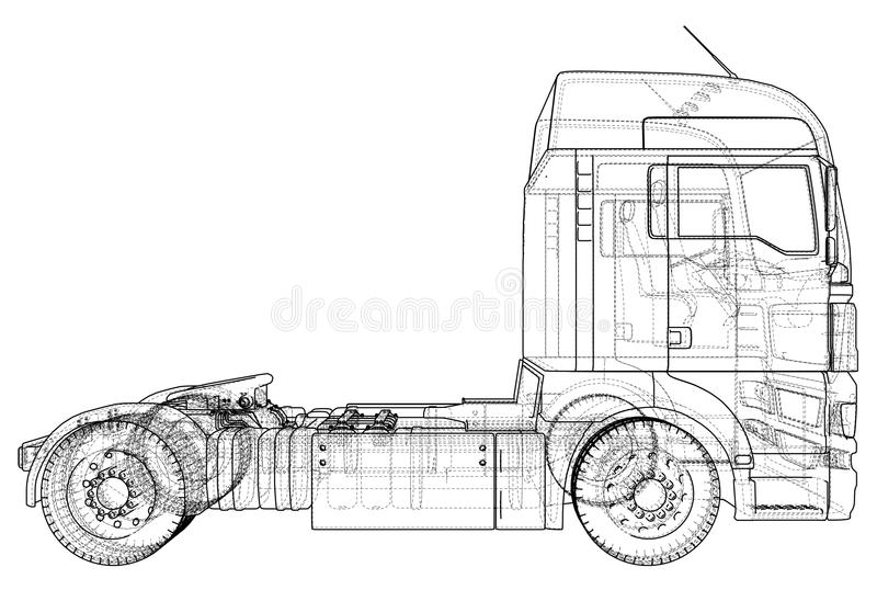 Vettore commerciale del camion del carico di consegna per l'identità di marca e pubblicità isolata Illustrazione creata di 3d col illustrazione vettoriale