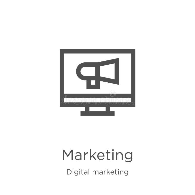 vettore commercializzante dell'icona dalla raccolta commercializzante digitale Linea sottile illustrazione di vettore dell'icona  illustrazione di stock