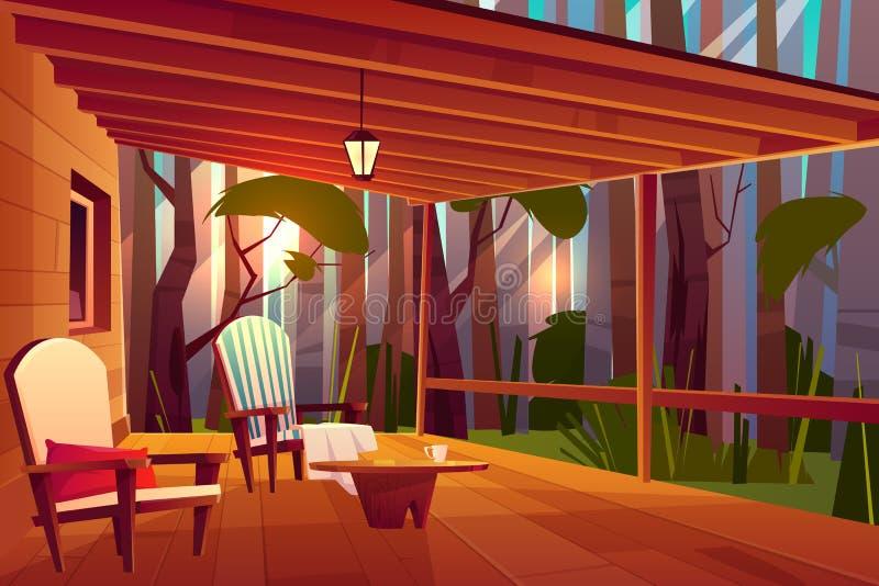 Vettore comodo del fumetto della veranda della casa di campagna illustrazione vettoriale
