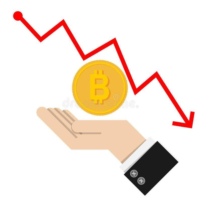 Vettore concetto di caduta finanziario con la scala dorata delle monete sopra illustrazione vettoriale