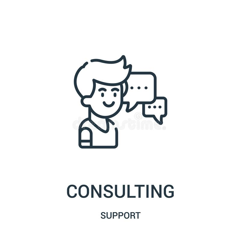 vettore consultantesi dell'icona dalla raccolta di sostegno Linea sottile illustrazione consultantesi di vettore dell'icona del p royalty illustrazione gratis