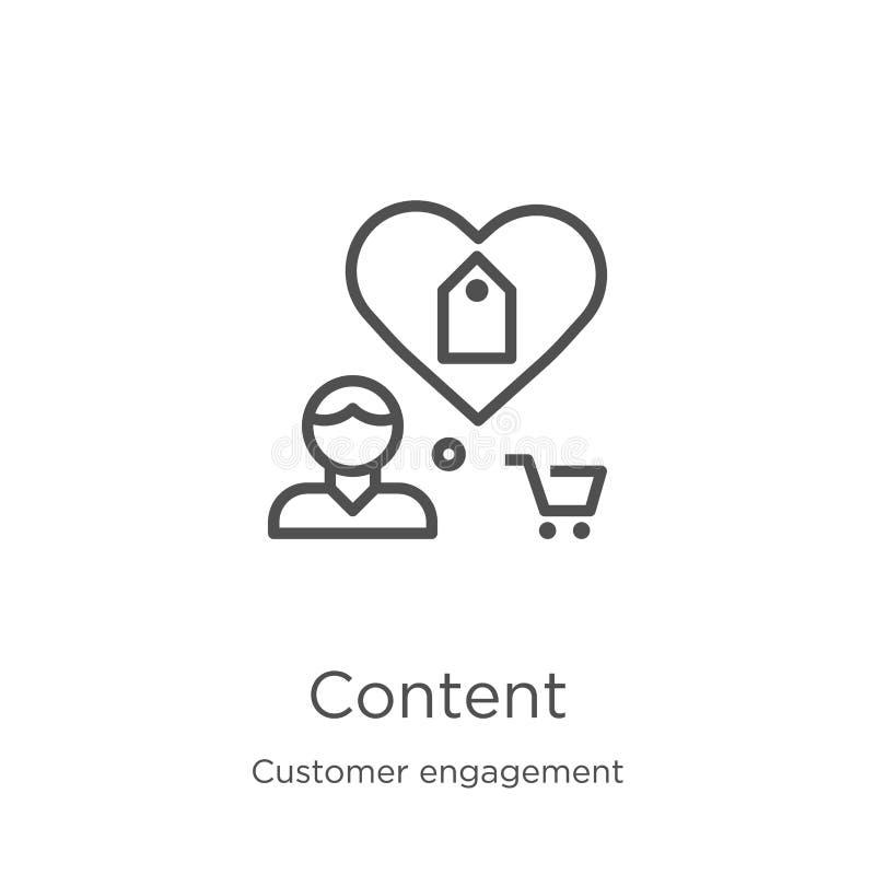 vettore contento dell'icona dalla raccolta di impegno del cliente Linea sottile illustrazione di vettore dell'icona del profilo d illustrazione di stock