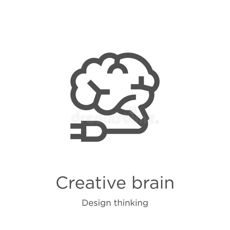 vettore creativo dell'icona del cervello dalla raccolta di pensiero di progettazione Linea sottile illustrazione creativa di vett royalty illustrazione gratis
