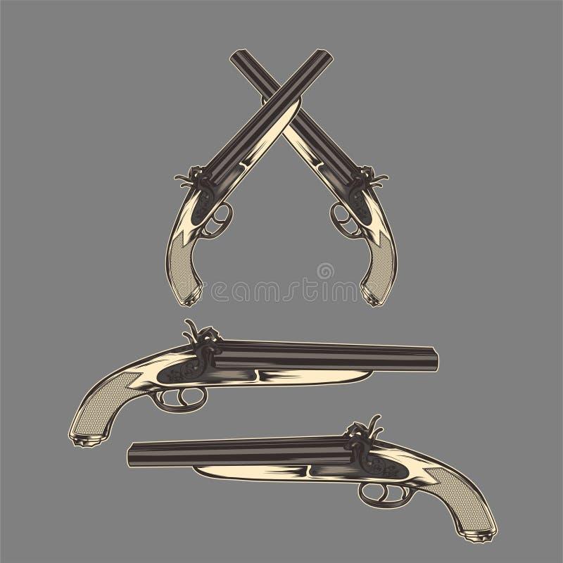 Vettore d'annata classico del disegno della mano della pistola illustrazione di stock