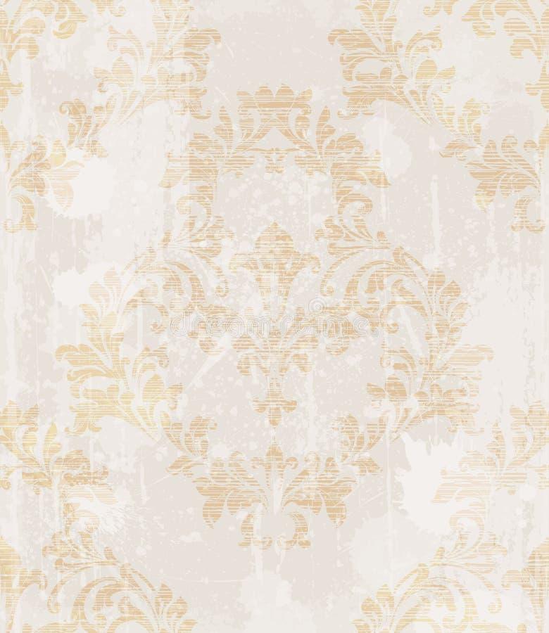 Vettore d'annata del fondo del modello barrocco Progettazione ornata di struttura Decorazioni originali del tessuto illustrazione di stock