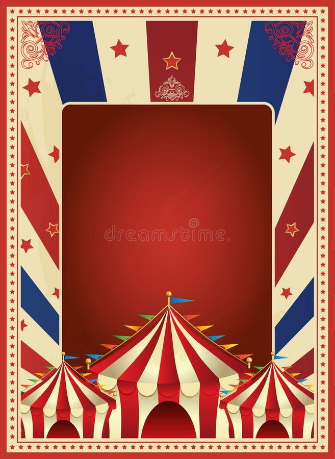 Vettore d'annata del modello del manifesto di carnevale Mardi Gras circus Illustrazione illustrazione vettoriale