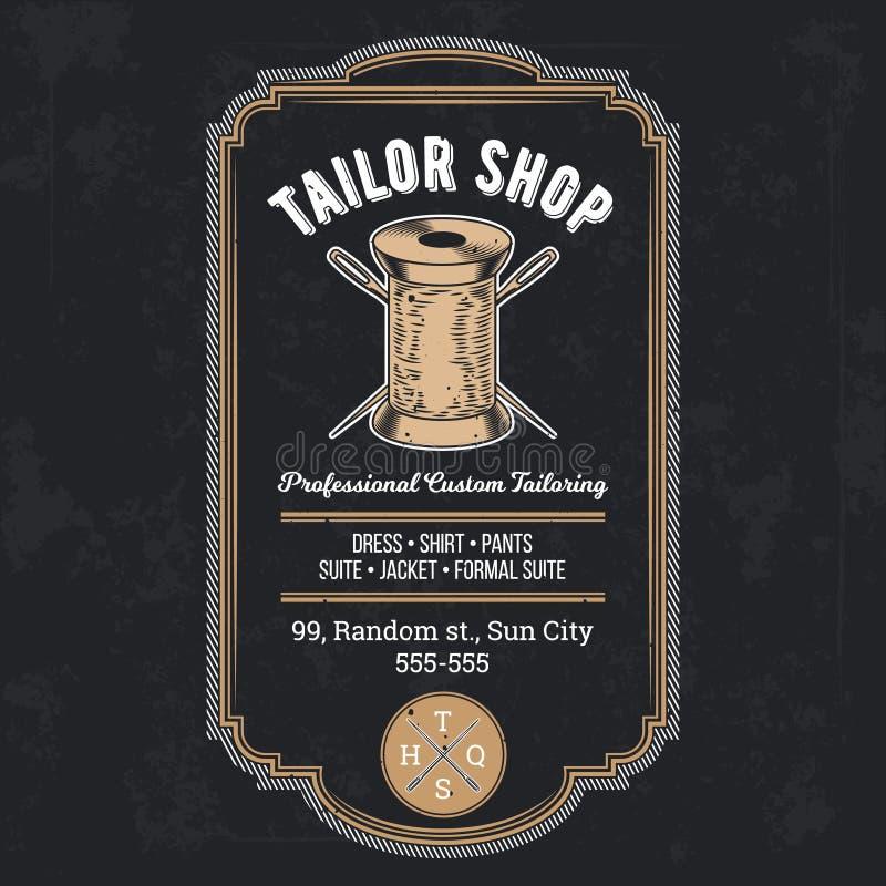 Vettore d'annata dell'emblema o del contrassegno del negozio del sarto illustrazione di stock